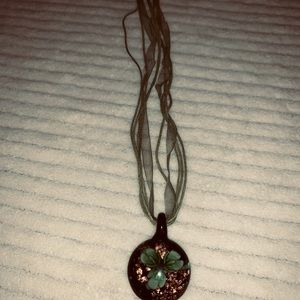 Jewelry - Glass floral pendant fabric necklace